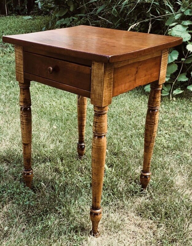 @1825 Federal Sheraton Antique Nightstand Work Table Tiger Curly Maple Cherry
