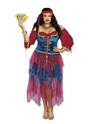 Crystal Ball Gypsy Halloween-kostüm (Dreamgirl Gypsy Crystal Ball Fortune Teller Adult Womens Halloween Costume Plus)
