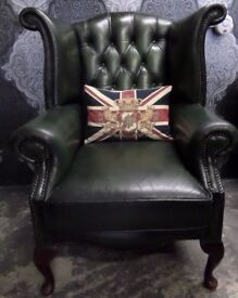 Stunning Chesterfield Queen Anne Wing Back Chair Green Leather - Uk Delivery