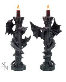 DRAGON CANDLE HOLDERS MEDIEVAL BNWT NEMESIS NOW GUARDIANS OF LIGHT Gry £15.99 Each Or £24.99 Pair
