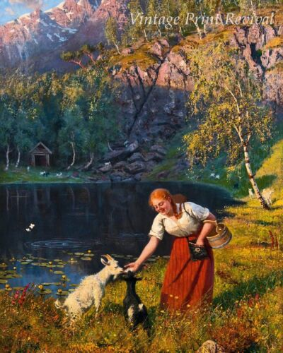Milkmaid with Goats by Hans Dahl - Norway Girl Fjord Mountain 8x10 Print 1151