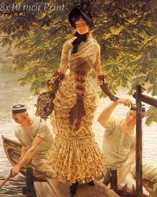 On the Thames by James Tissot - Woman Men Boat River London Tree 8x10 Print 1975