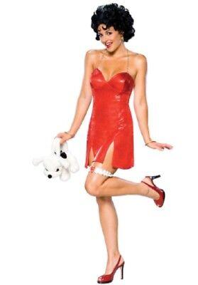 Damen Erwachsener Reiz Rot Betty Boop Kleid Kostüm mit / - Kostüm Mit Roten Perücken