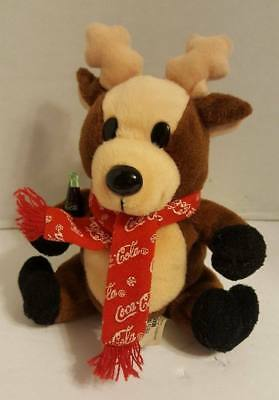 "Vintage 1998 Coca-Cola Plush Beanie Moose 5.5"" Holding Coke Bottle"
