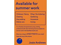 Available for summer work