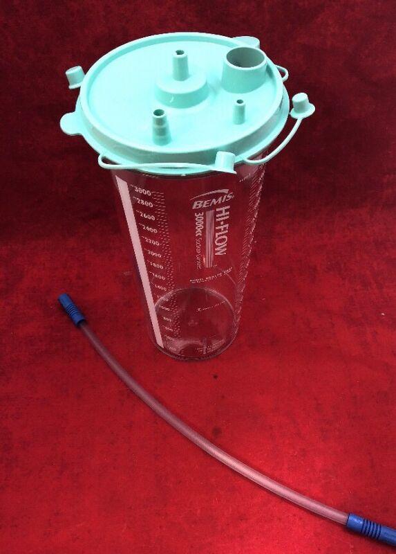 "6 Bemis 3000cc/ml Hi-flow Suction Canister Kit W/green Lid & 18"" Tubing 3025 055"