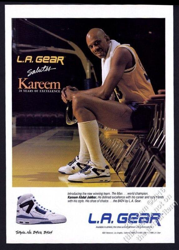 1989 Kareem Abdul-Jabbar photo L.A. Gear B424 basketball shoes vintage print ad