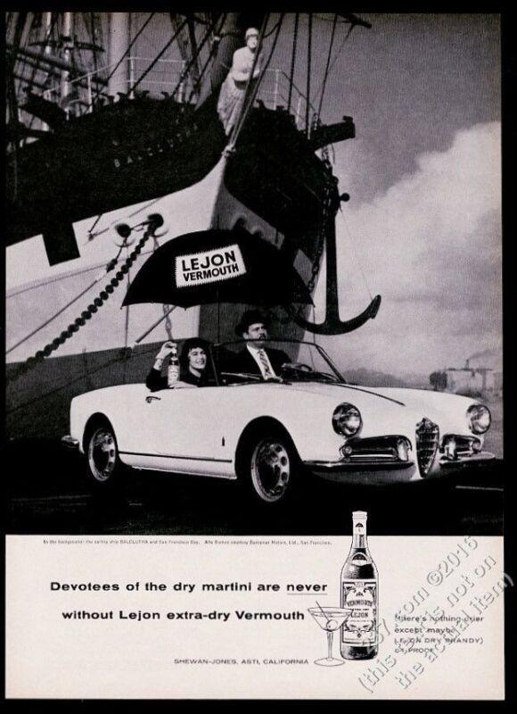 1959 Alfa Romeo spider car Balclutha ship photo Lejon Vermouth vintage print ad