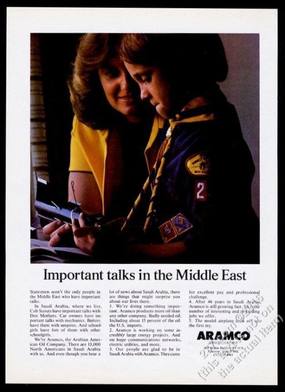 1981 Cub Scout photo Aramco oil vintage print ad