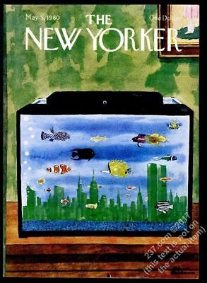 New Yorker magazine framing cover May 5 1980 Charles Addams NYC fish tank