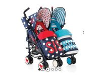 Bro and sis double pushchair