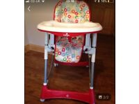 babylo high chair, colourful, different seating positions and removable tray