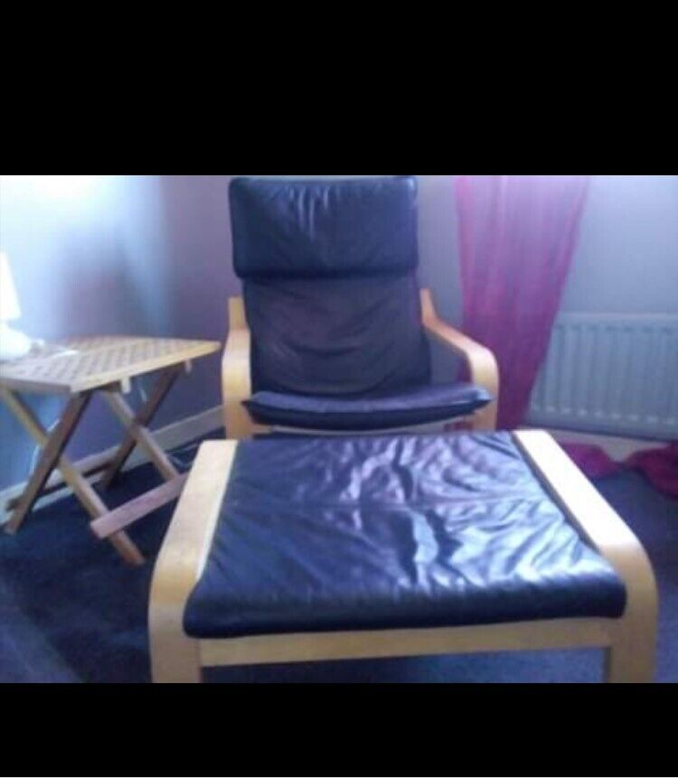 Awesome Ikea Black Leather Chair With Foot Stool In Barrhead Glasgow Gumtree Evergreenethics Interior Chair Design Evergreenethicsorg