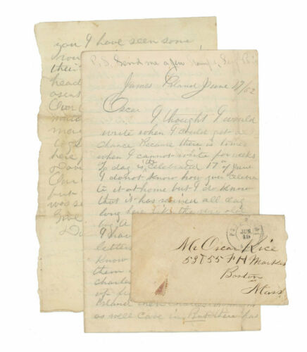 1862 Civil War Letter - 1st Massachusetts Cavalry - Battle of Secessionville
