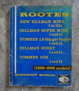 HILLMAN, SINGER, HUMBER, COMMER WORKSHOP MANUAL Wentworthville Parramatta Area Preview