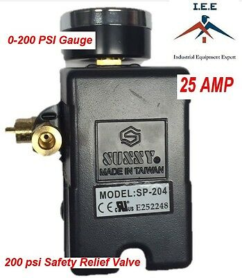 25 Amp Air Compressor Pressure Switch 4 Port 145-175 Psi W Gauge Pop Off Valve