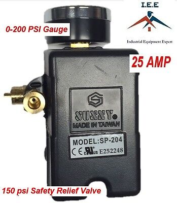 25 Amp Air Compressor Pressure Switch 4 Port 95-125 Psi W Gauge Pop Off Valve