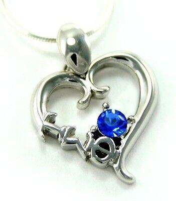 Tau Sigma Phi sterling silver heart pendant with blue cz (Tau Sigma Phi)