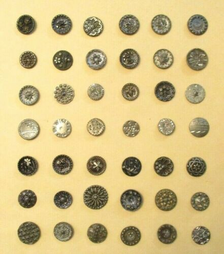 42 FABULOUS Antique ONE PIECE White Metal CLOTHING BUTTONS - Lead / ZINC TIN