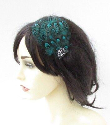 Teal Blue Green Black Pheasant Feather Fascinator Headband Races 1920s Hair 5082