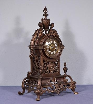 "*19"" Large Antique French Neogothic Bronze Clock Gothic"