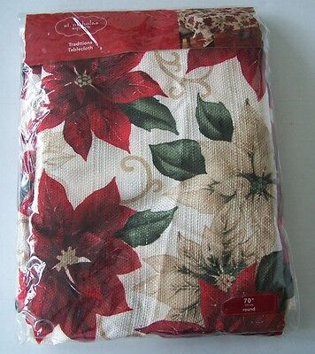 "New! Kohl's St. Nicholas Square Traditions Poinsettia Tablecloth 70"" Round  ()"