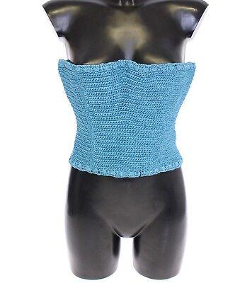 Nwt Dolce & Gabbana Cinturón Tejido Rafia Azul Corsé Cintura Ancho 65...