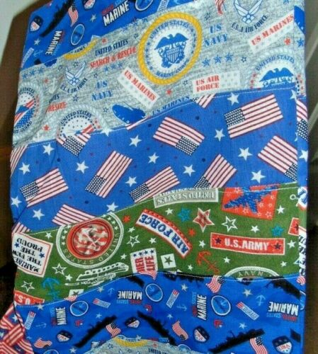 """Santa Sack Stocking Patchwork Quilt Military All Branches 19"""""""