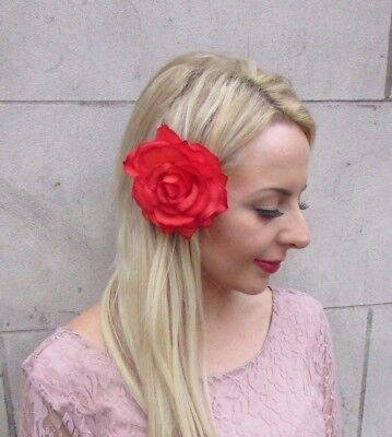 Large Blood Orange Rose Flower Hair Clip Day of Dead Halloween Fascinator 4068