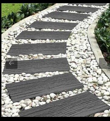 12 Stepping Stone Garden Pathway Railroad Tie Grey Recycled Rubber Flat £108 New