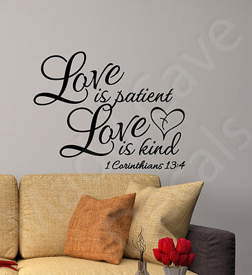 Love is Patient Love is Kind 1 Corinthians 13:4 Christian Vinyl Wall Decal  (Love Is Kind Love Is)