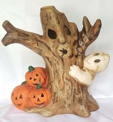 Vintage Ceramic Haunted Tree Halloween Light Ghost Jack O Lantern Pumpkin Lamp