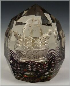 Rare-19th-Century-Facet-Cut-Glass-Paperweight-w-Sulfide-Birds-in-Basket