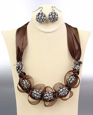 DESIGNER Brown Satin Ribbon Antique Rhinestone Balls Crystals Tulle Necklace Set