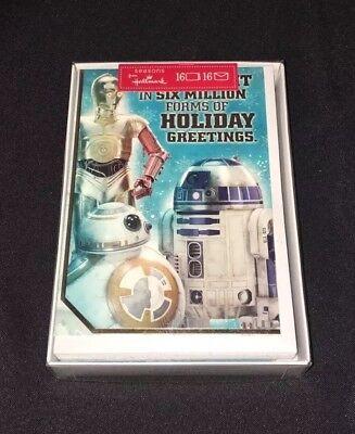 Star Wars Hallmark Christmas Cards Holiday Greeting Box of 16 R2D2 C3PO NEW - Star Wars Christmas Cards