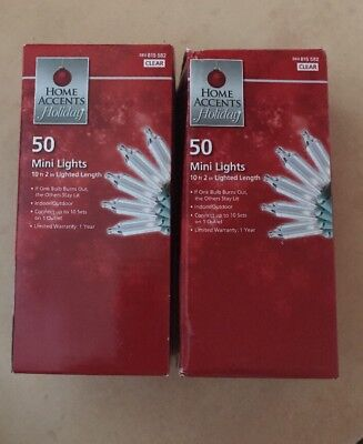 Lot of 2- Home Accents 50 Mini Light String Clear Holiday Christmas Decoration