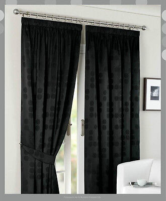 "PolyCotton Jacquard-90""x90"" Ready Made Fully Lined Curtain Pair+Tie Backs"