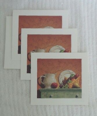 Vegetable Notes - Longaberger NOTE CARDS Vegetable Basket Pottery FALL THEME 3 CARDS Village Press