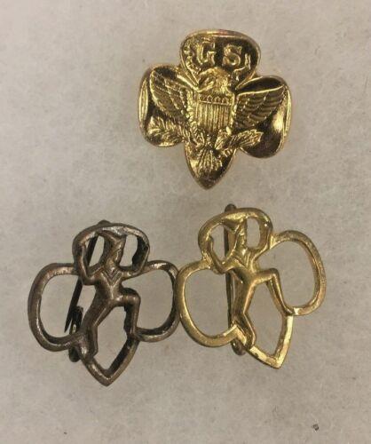 3 Vintage Girl Scouts / Brownie Pins