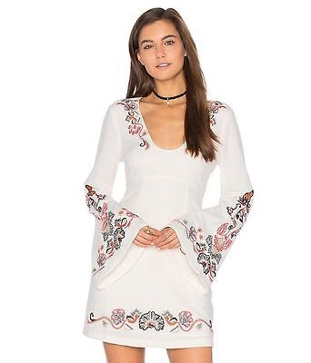 Nwt Free People Holiday Folk Embroidered Mini Dress Ivory Sizes 6 8 10 New  168