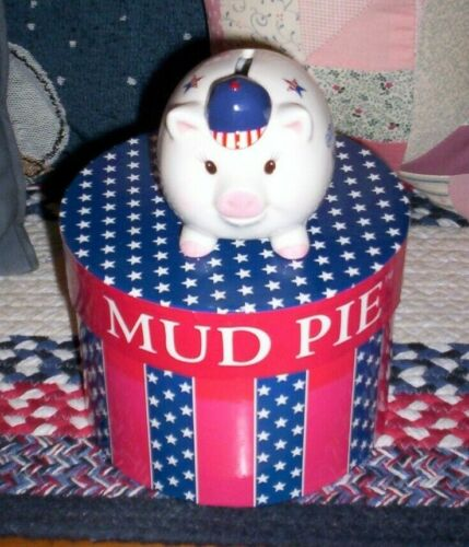 MUD PIE 2001 PATRIOTIC GOD BLESS AMERICA CERAMIC MINI PIGGY BANK WITH BOX CUTE