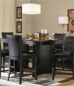 Beautiful and unique looking pub table set with 6 chairs