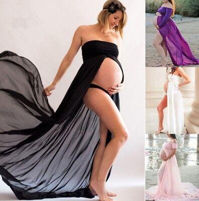 Hot Pregnant Women  Chiffon Maxi Dress Maternity Gown  Photography Props Dress