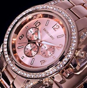 Excellanc Uhr Damenuhr Armbanduhr Rose Gold Farben Metall Strass R 52