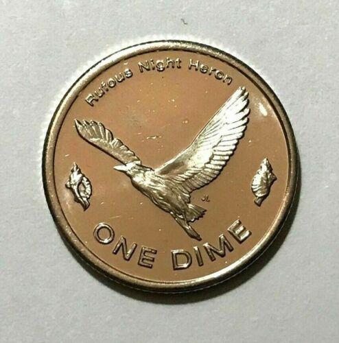 2012 Micronesia 10 cents, Rufous Night Heron bird, animal wildlife coin