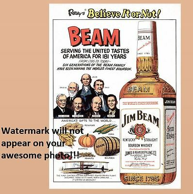 Vintage Jim Beam Bourbon Whiskey PHOTO Art Print Decor Bottle Ad Sign Ripley's