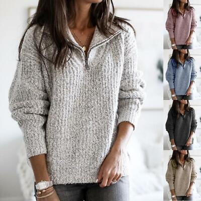 Women Casual Fleece Fluffy Sweater Jumper Ladies Winter Zip Up Pullover Tops Tee