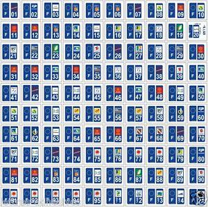 10 stickers autocollants plaque d 39 immatriculation d partement au choix ebay. Black Bedroom Furniture Sets. Home Design Ideas
