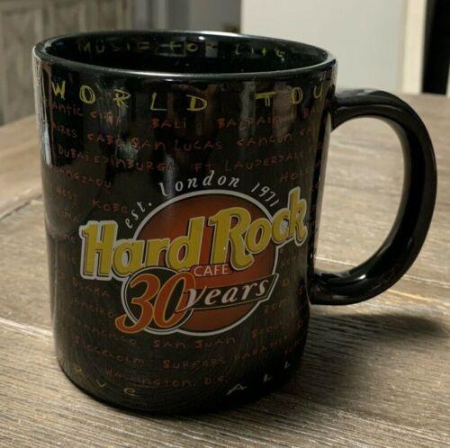 Hard Rock Cafe 30 Years Anniversary World Tour Black Coffee Mug Memphis Handle