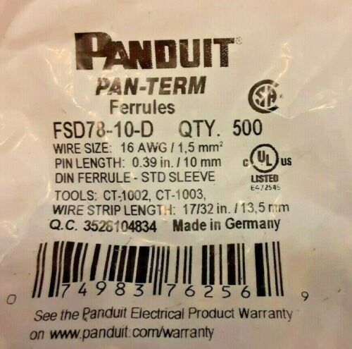 Panduit Pan-Term FSD78-10-D Ferrules 16AWG 10mm Black Sleeve - Bag Of 500